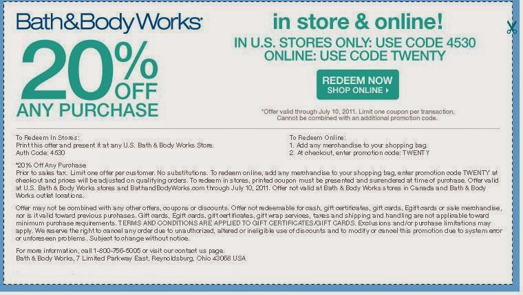 Bath and Body Works Coupon Printable March 2015