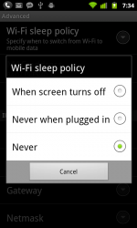 WiFi sleep policy setting