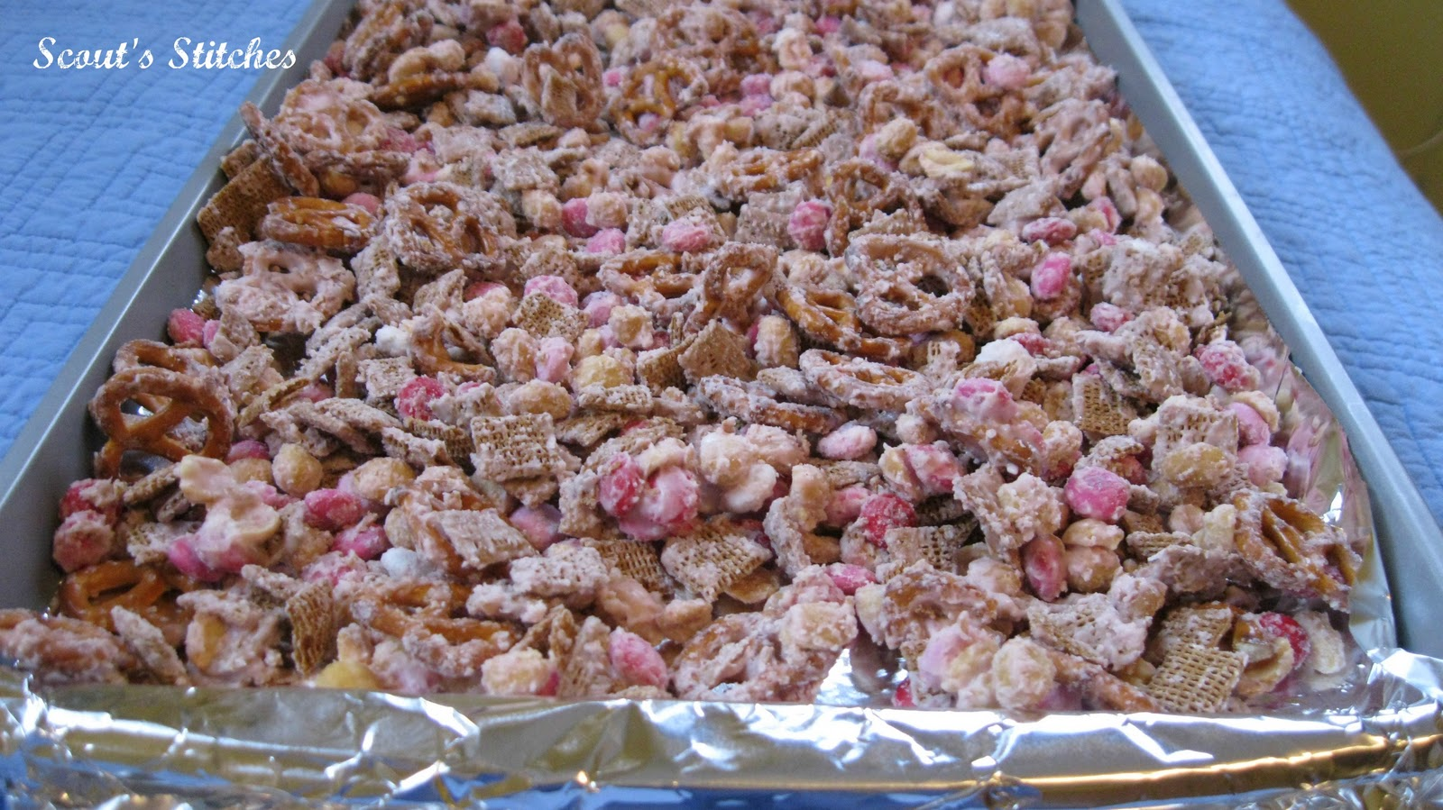 ... Just Dump Melted Coating On Top Of Trail Mix And Stir Until It Is  Evenly Coated. Lay Flat On Aluminum Foil Or Wax Paper Coated Cookie Sheets  To Let Dry.