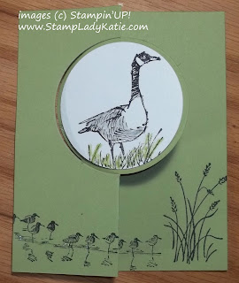 Flip Flop card made with Stampin'UP!'s Circle Thinlit Dies and Wetlands Stamp Set.