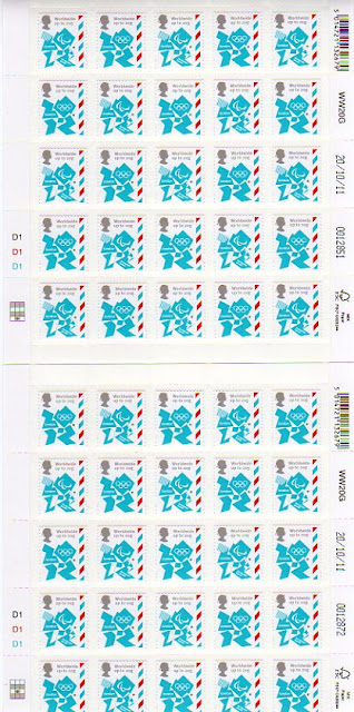 Two different sheets of 25 20g Olympic Definitives stamps.