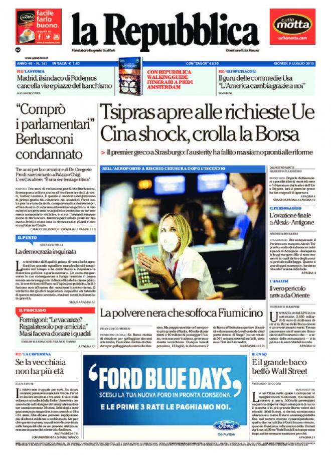 Reportages quotidiani la miglior prima pagina di oggi 9 for Home page repubblica