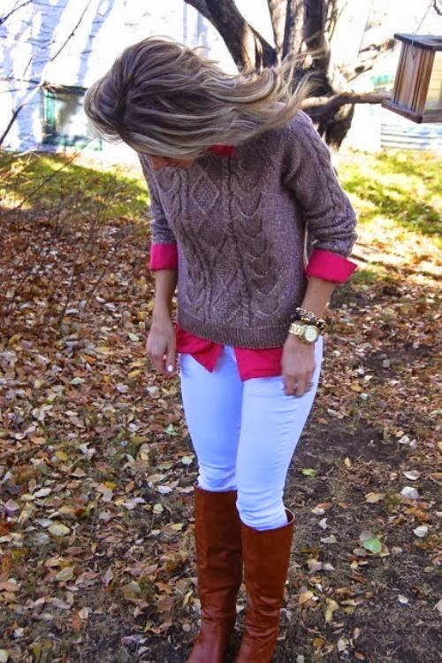 Fall Outfit With Woolen Sweater and Long Boots