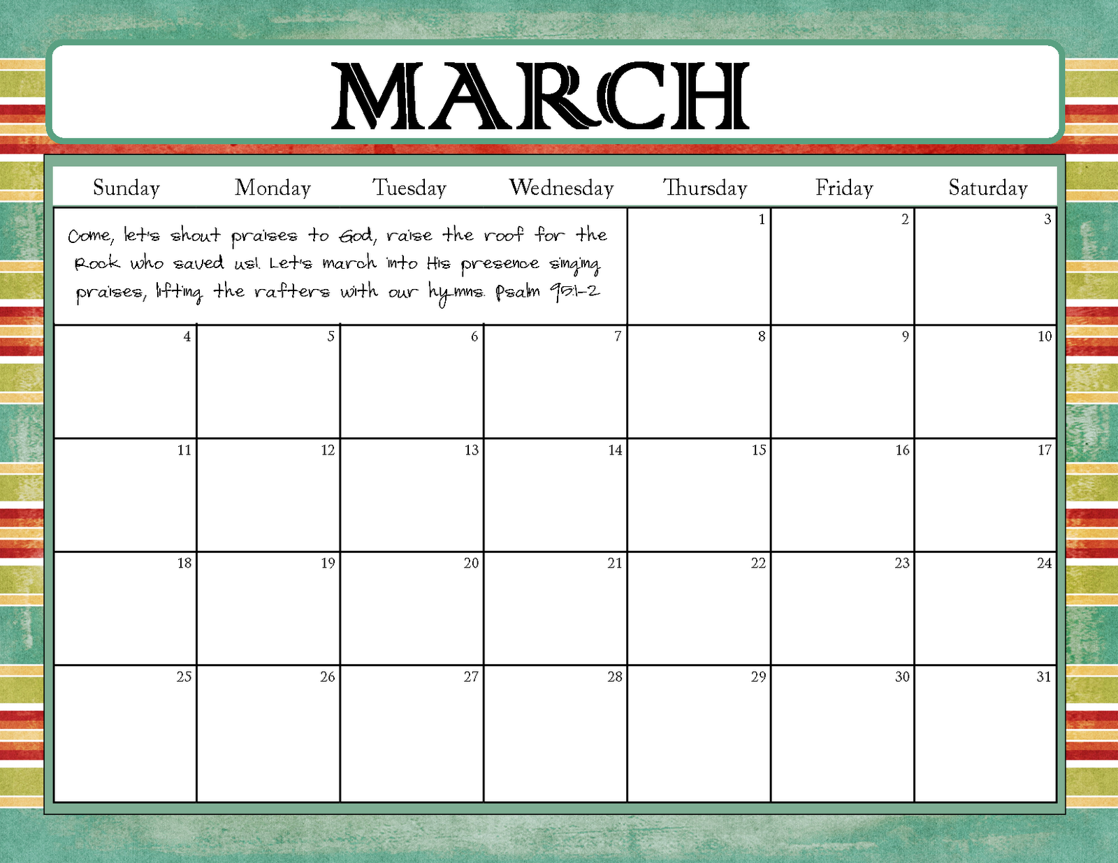 The Blogging Pastors Wife: Printable Calendars for March 2012