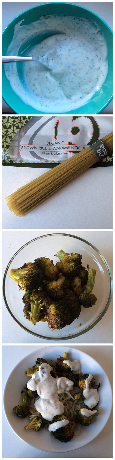 Healthy lunch: noodles with roasted broccoli and yoghurt dressing