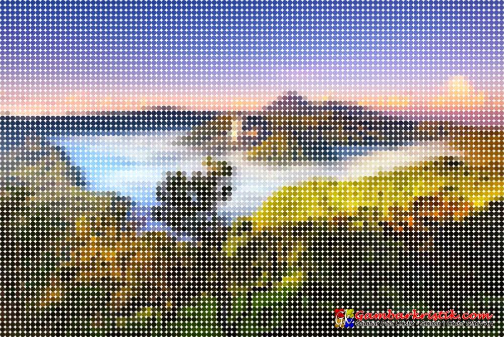 Gambar Mozaik Lingkaran Pemandangan Gunung Bromo