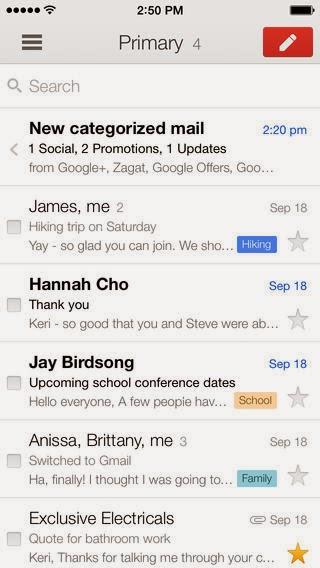 تحميل وشرح التطبيق الرسمي لخدمة البريد الالكتروني جيميل للأي فون والأي باد والأي بود Gmail - email from Google iOS - IPA 2.71828