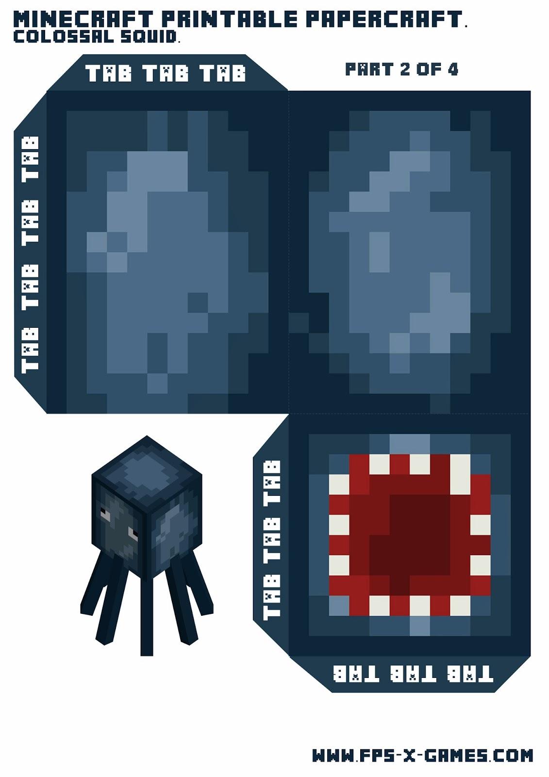 Minecraft papercraft mini squid
