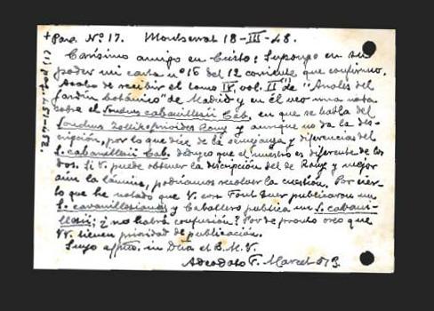 Cartas de adeodato f marcet osb a eric r sventenius for Anales del jardin botanico de madrid