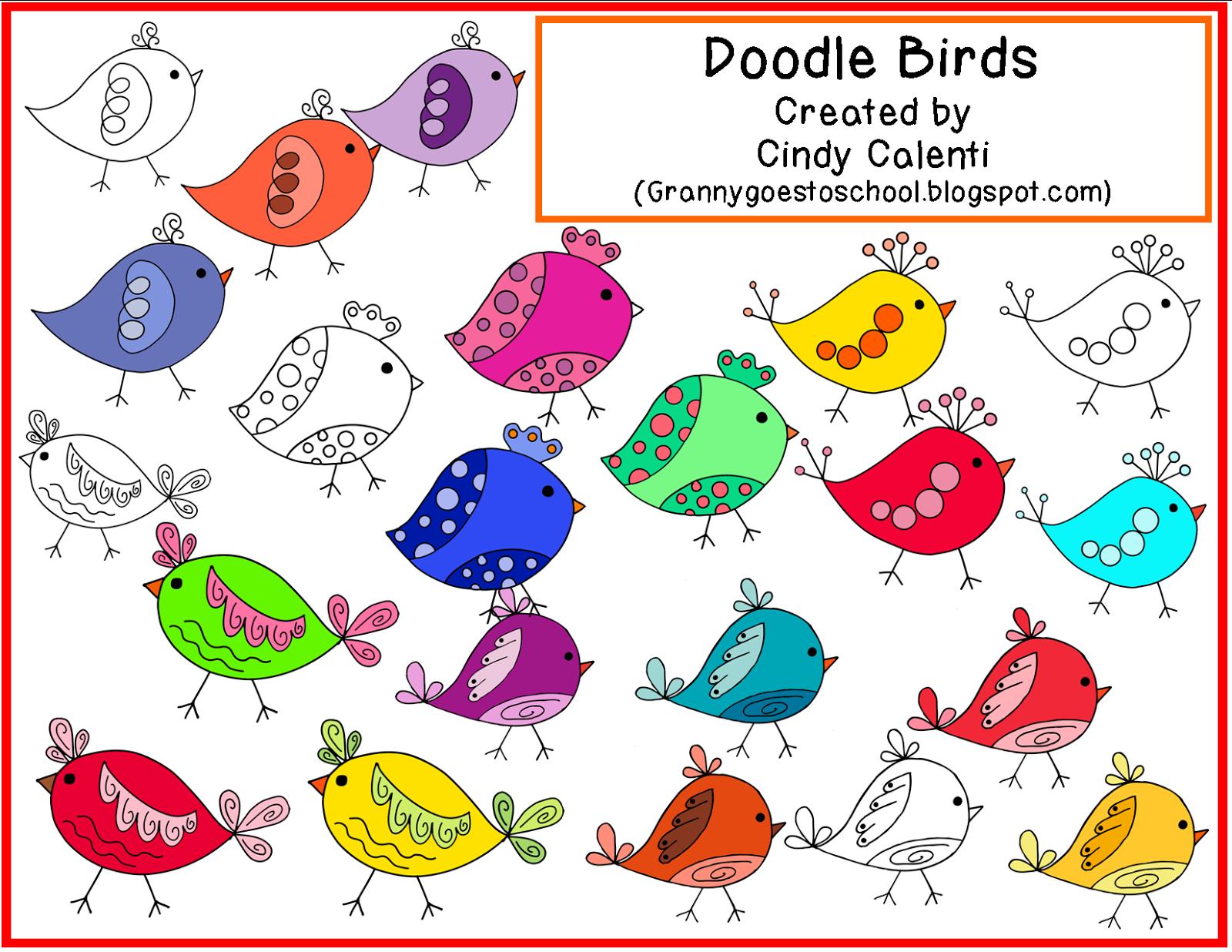 http://grannygoestoschool.blogspot.com/2014/08/doodle-birds-clip-art-freebie.html