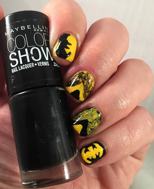 Nail Challenge Collaborative, superhero nails, barielle, maybelline, batman nails, batman