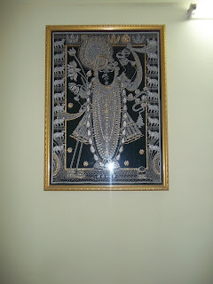 wall art painting Shreenathji Nathdwara Rajasthan India, India god painting, Silver and black color