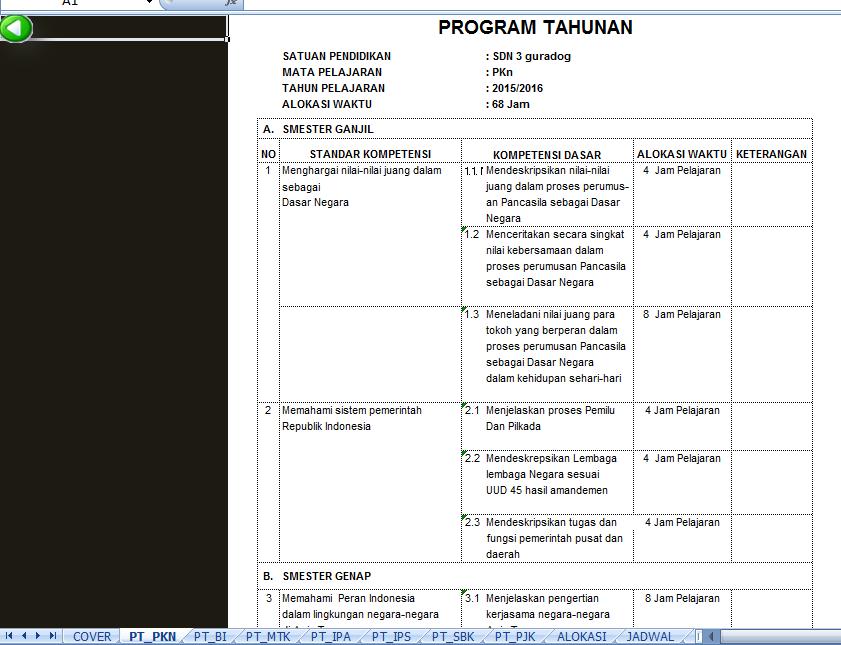 Aplikasi Pembuatan Program Semester Dan Program Tahunan Excel Guru Daring