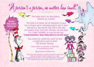 Pink Dr Seuss Baby Girl Baby Shower Invitations