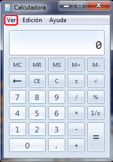 calculadora de windows opciones
