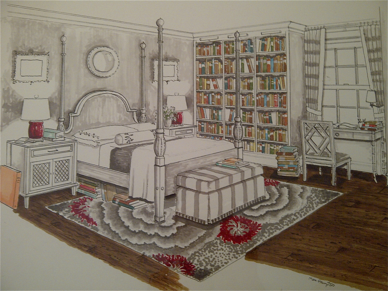 The rendering perspective a bedroom for book lovers for Bedroom ideas for book lovers
