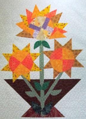 Sun Flower Basket Applique Quilt Pattern