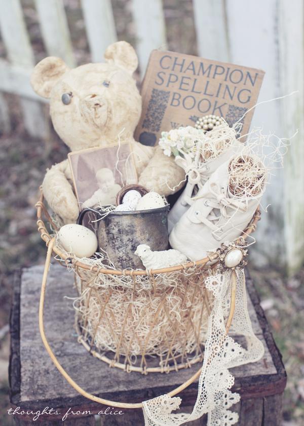Diy vintage inspired easter baskets antique baby easter basket negle Images