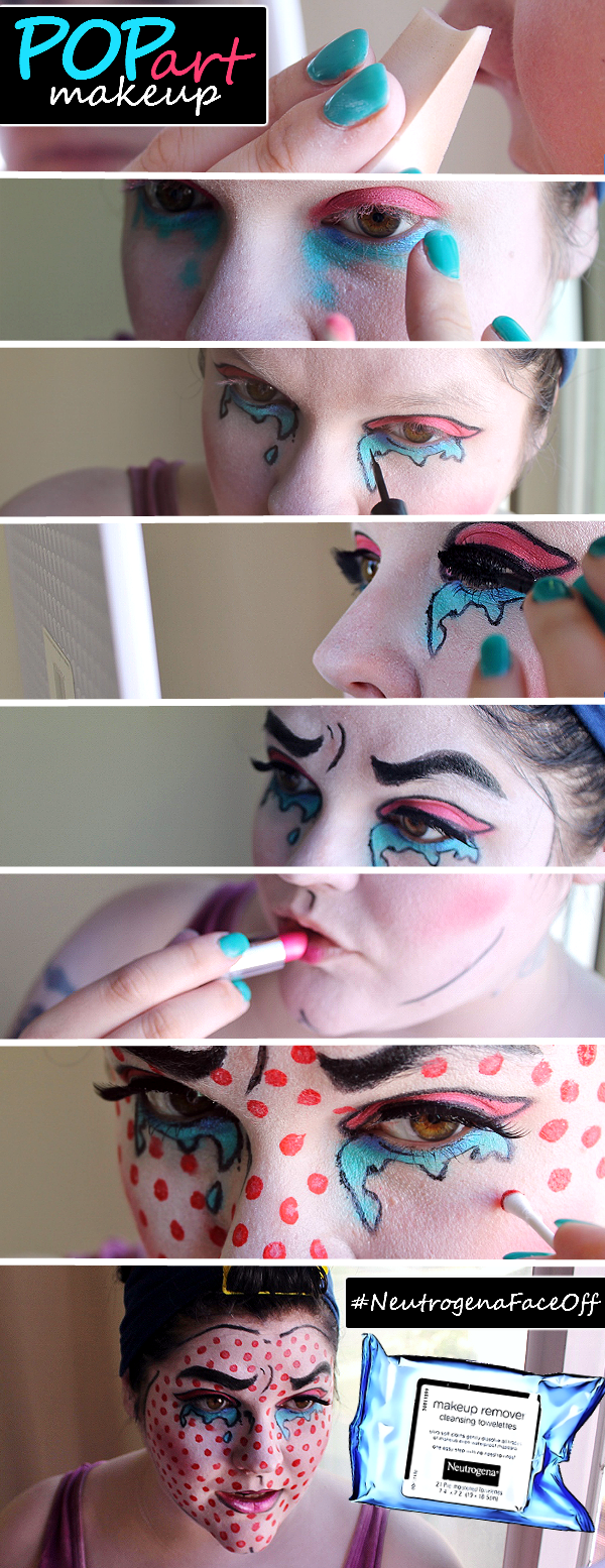 Pop Art Costume Makeup for a retro look that is easy to pull off and memorable to wear! Then take the #NeutrogenaFaceOff challenge and #WipeAwayTheDay with Neutrogena Cleansing Towelettes from Walmart! #ad