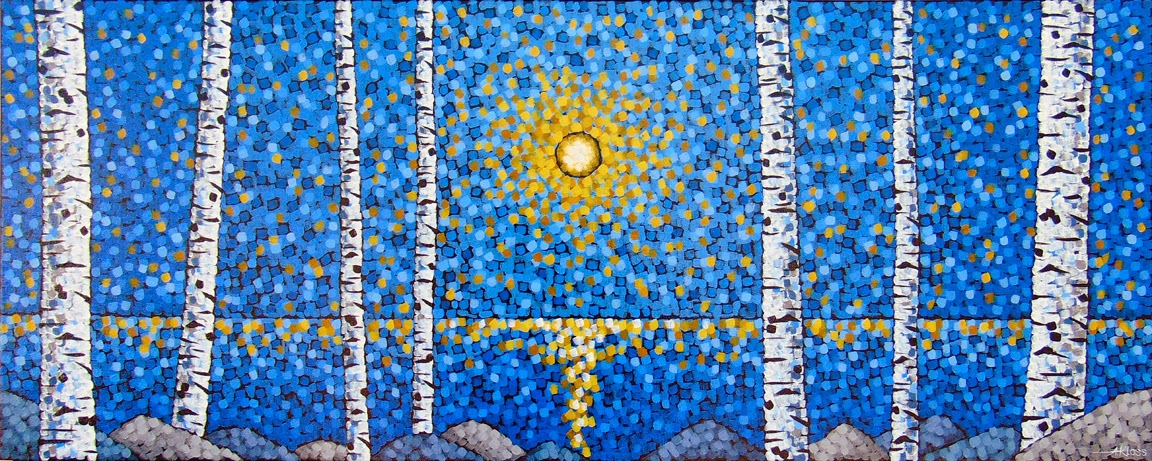 Colors of the night Aaron Kloss Birch Pointillism Landscape Painting