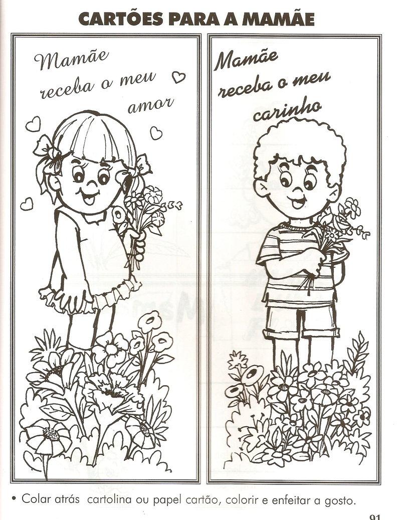Para ampliar os desenhos Dia das Mães para fazer os cartões, basta