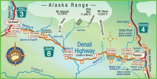Maps Of Alaska Roads By Bearfoot Guides Map Of Denali Highway In Alaska
