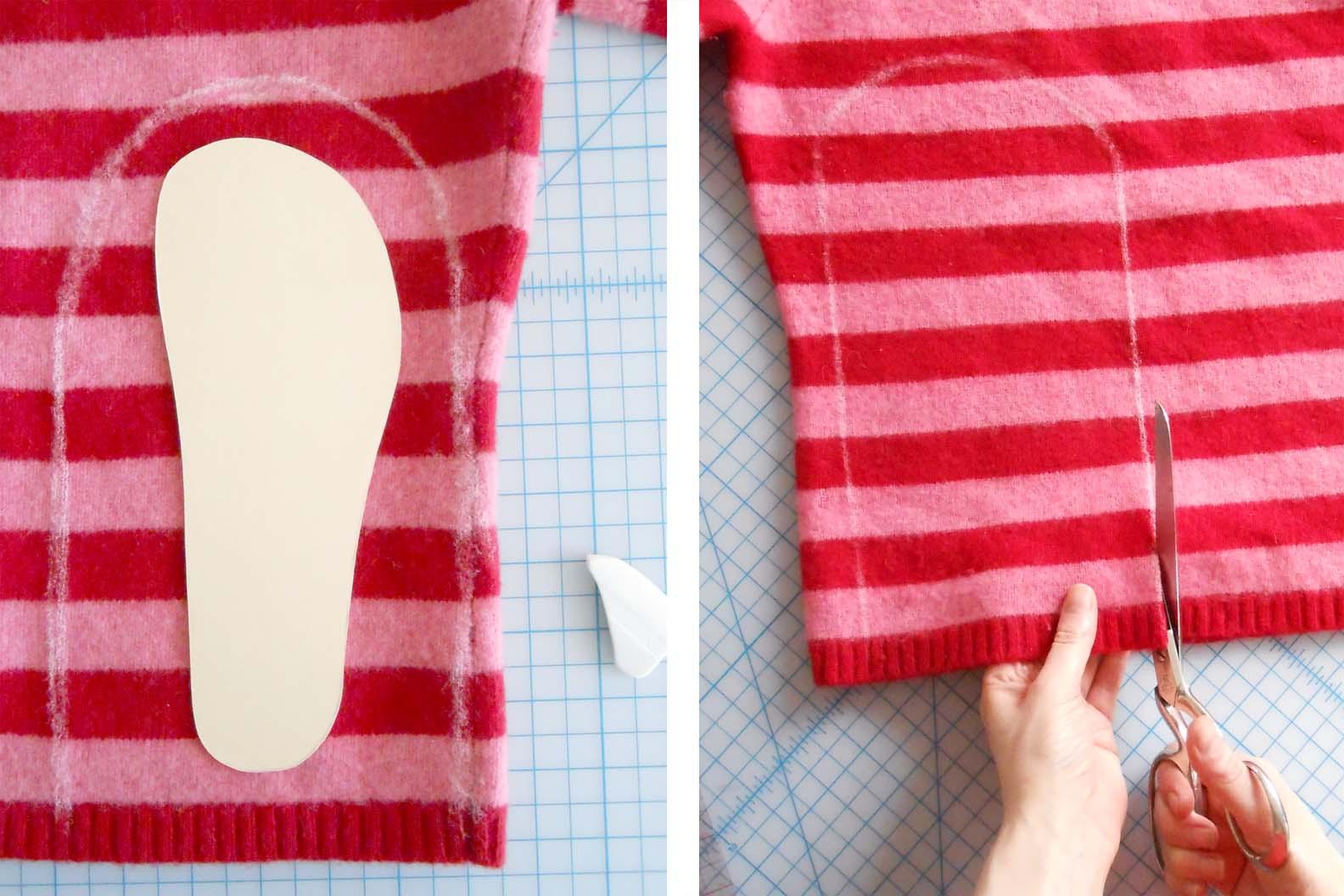 Переделка старого свитера в носки Мастер-класс своими руками 99