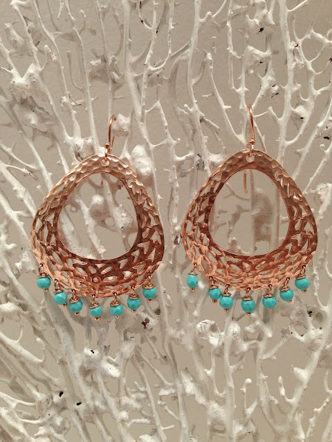 rose gold, hammered gold, earrings, sparkle, turquoise, gypsy style, bohemian, luxe