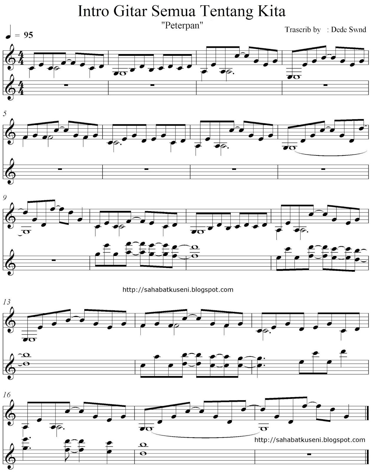 Balok Intro Gitar Lagu Semua Tentang Kita Peterpan | sahabatku seni ...