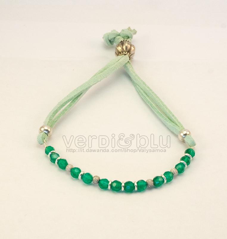 bracciale agata verde e argento