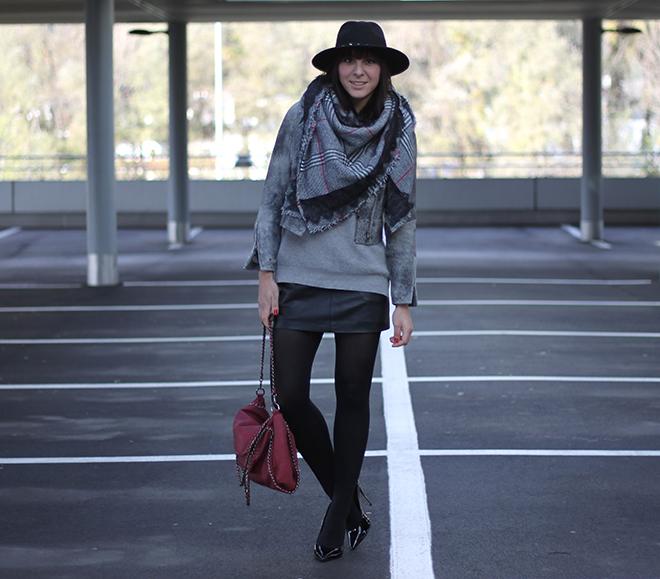 outfit-trend-herbst-winter-fashionblogger-lederjacke-hmtrend-schal-zara-kariert-pullover-tchibo-lederrpck-sarenza-pumps-buffalo-schwarz-tasche-bordeaux-falaballa