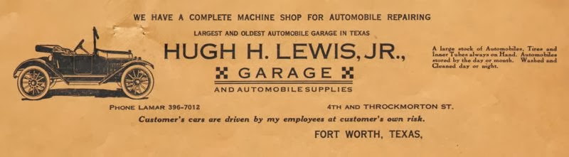 1925 Fort Worth Hugh Lewis Jr. Garage Letterhead