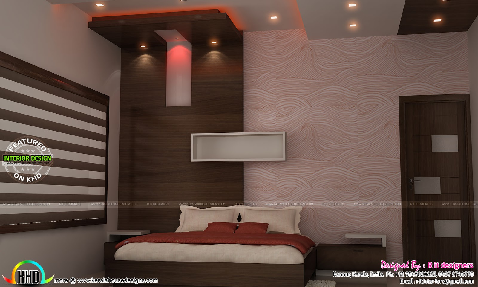 Tv unit furniture dining and bedroom interiors kerala for Interior wallpaper designs india