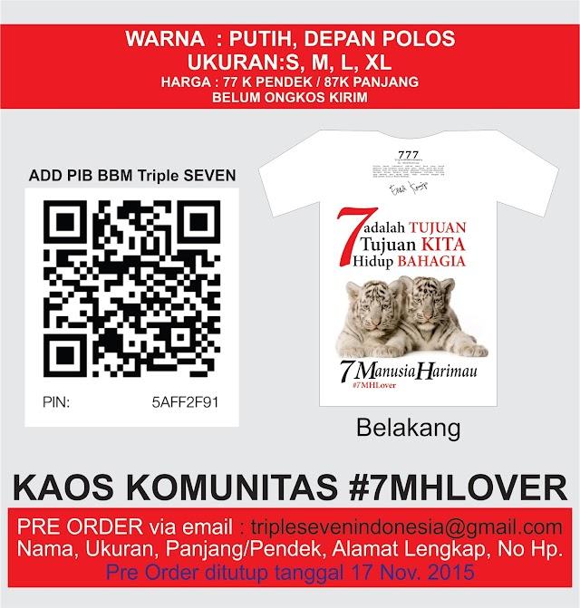 Pre Order Kaos #7MH Lover Triple Seven