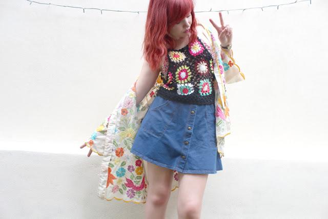 topshop denim skirt festival outfit