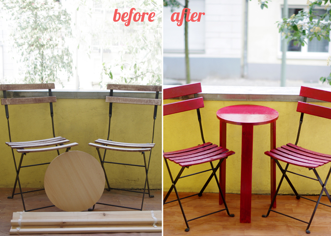 Makeover of an old outdoor furniture. Created and photographed by Xenia Kuhn for fashionrolla.com