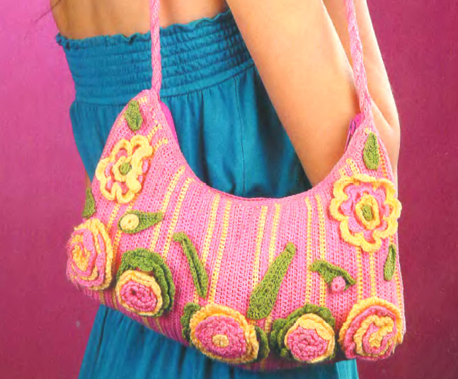 Knitted Handbag with flowers