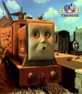 Little diesel Rusty the tank engine jumped with a big biffed bang sound he crash against his trucks