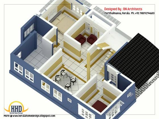 2 storey house 3d floor plans free - 232 Sq. M (2492 Sq. Feet) - February 2012