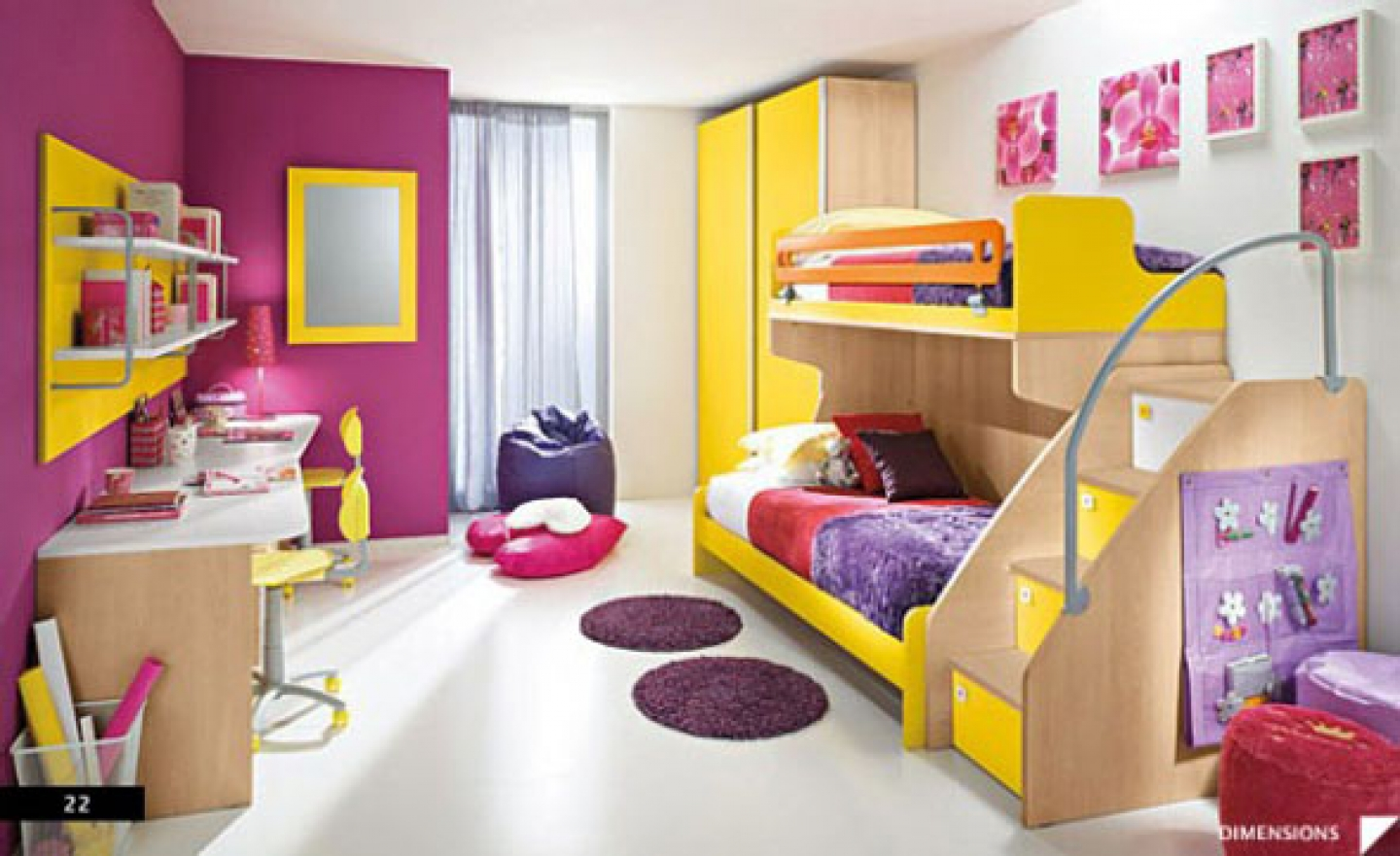 Amazing This Bedroom Is For Two Small Girls, It Has Yellow Simple Furniture And A  Mix Of Pink And White Wall.
