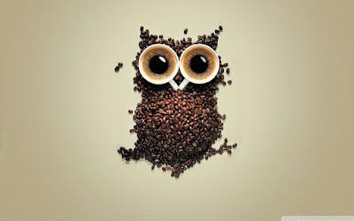 wallpaper unik dan kreatif kopi mirip burung hantu