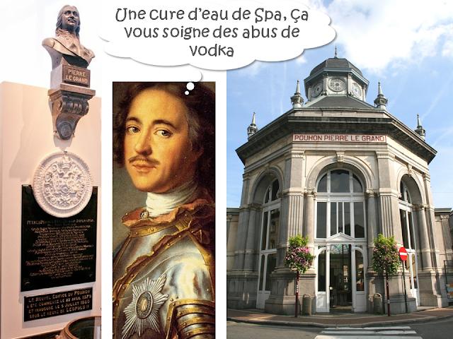 """Tsar Pierre le Grand en cure à Spa - """"Une cure d'eau de Spa soigne les abus de vodka""""  - Pavillon Pouhon - Pierre le Grand - Bruxelles-Bruxellons"""