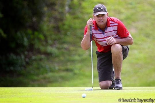 Stuart Duff, Hastings Golf Club, competing in the Greenwood Cup at Napier Golf Club, Waiohiki, Napier. photograph