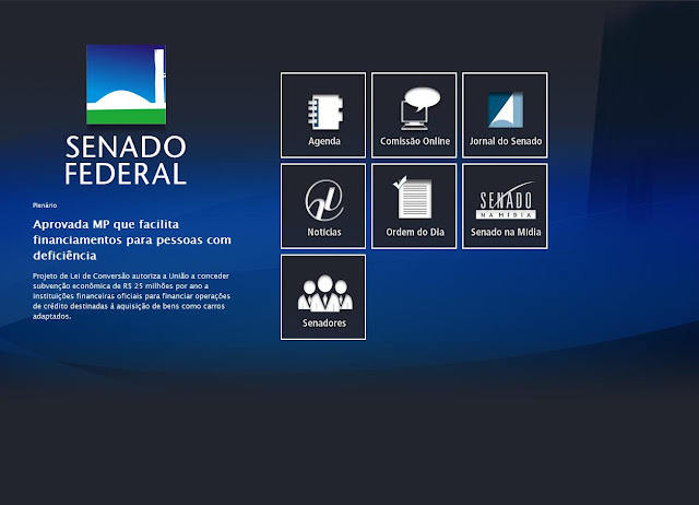 "Página Inicial  do Site do ""Senado Federal"" Otimizada para Tablets"