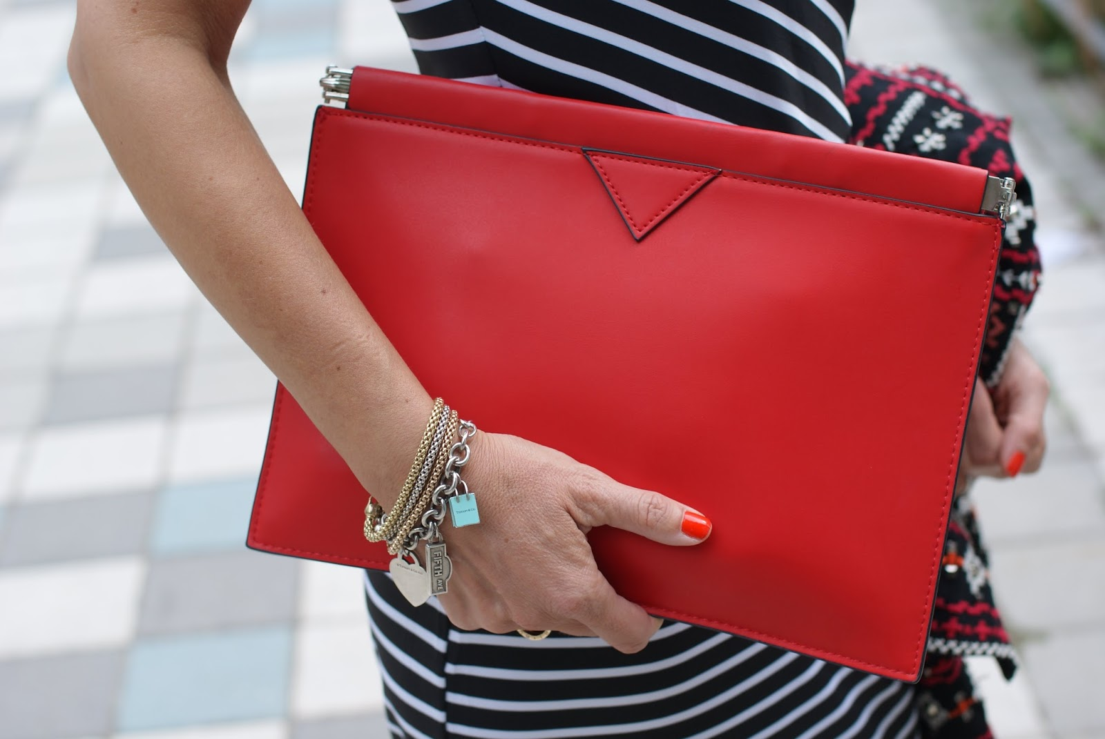 Zara red clutch and Fope bracelets on Fashion and Cookies