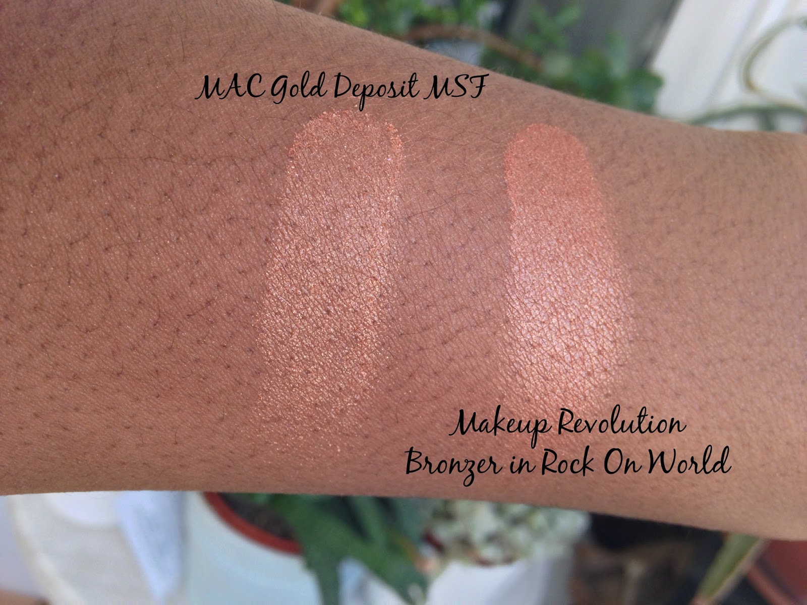 Makeup Revolution NC50 Beauty Blogger Black Beauty Discoveriesofself Gold Deposit MSF Rock on World Bronzer