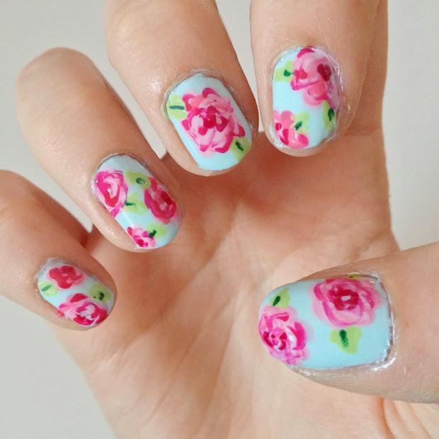 radiant rose nail art design
