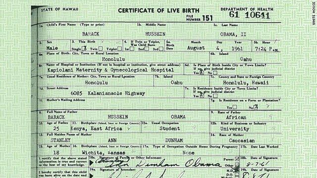 The Michigan Silverback: Obama\'s Birth Certificate Released - Not A Joke