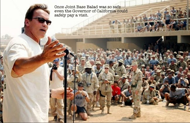 Arnold Schwarzenegger appearing at Joint Base Balad in 2008