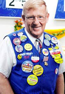 Walmart employee with button flair